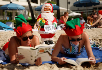 A Santa o the beach in  Hawaii