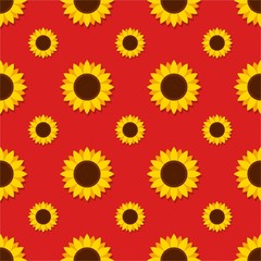 Sunflower with green leaves seamless pattern. Sunflowers on red background vector illustration