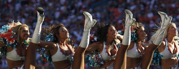 Miami Dolphins' cheerleaders perform in a timeout against the Seattle Seahawks in the second half of their NFL football game in Miami Gardens, Florida
