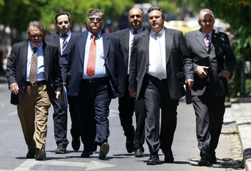Leader of the Independent Greeks party Panos Kammenos arrives for a meeting in Athens