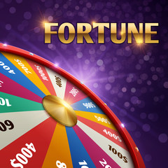 Vector gambling background with 3d fortune chance wheel