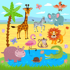 Baby jungle and safari zoo animals vector nature background