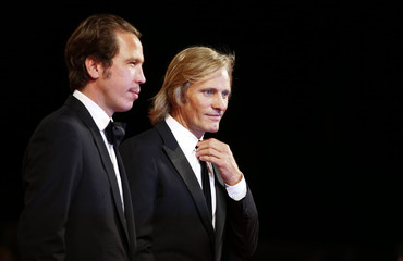 """Actors Mortensen and Kateb attend the red carpet for the movie """"Loin des hommes"""" at the 71st Venice Film Festival"""