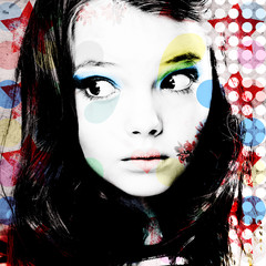 Bright colorful portrait of a thoughtful girl in modern style pop art. Computer design. Contemporary art.