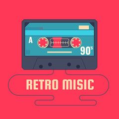 Audio cassette on red background. Retro music 90s.