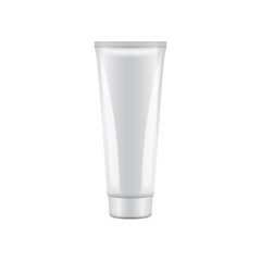White plastic tube with round cap. Vector packaging mockup template. Front view