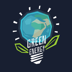 Poster green energy with a globe in the light bulb and leaves.