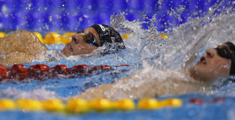 Glania of Germany competes in the men's 200m backstroke heats at the European Swimming Championships in Berlin