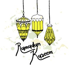 Ramadan celebration engraved. Hand drawn vector illustration.