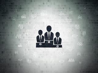 Finance concept: Business Team on Digital Data Paper background