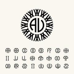 Set template letters to create monograms of two letters in scribed in a circle in Art Nouveau style.