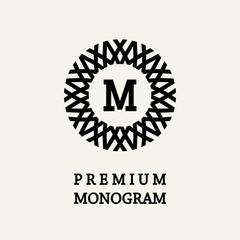 Stylish and graceful floral monogram design , Elegant line art logo , vector template.