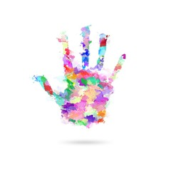 Abstract painting human hand in colors - Artwork hand - Kids hand in paints - Global support