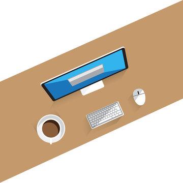 Computer workstation desk Vector Illustration