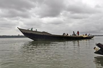 Passengers travel in a boat at Oron beach in Akwa Ibom, southeastern Nigeria