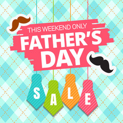 Father's Day sale offer. Colored tie and mustache man with lettering, isolated on blue seamless background template for promotion banner, ads, flyer, invitation, poster, brochure, discount . Vector