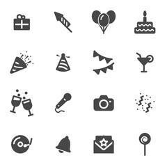 Vector black birthday icons set