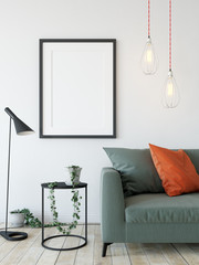 mock up posters in living room interior. Interior scandinavian style. 3d rendering, 3d illustration
