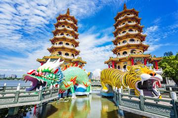 Kaohsiung, Taiwan Dragon and Tiger Pagodas at Lotus Pond.
