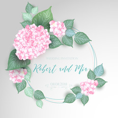 Floral Wedding Card with Blooming Hydrangea