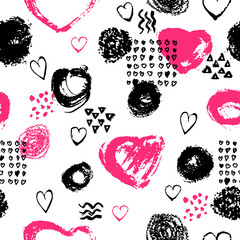 Vector seamless pattern with brush stripes and strokes. Black pink color on white background. Hand painted grange texture. Ink geometric and heart elements. Fashion modern style. Endless fabric print.