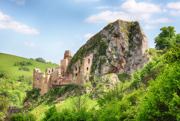 Photo sur Aluminium Ruine Slovakia, historic ruins of castle Lednica