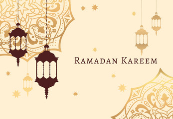 Ramadan Kareem celebrate greeting card or illustration with paper cutting style with arabic design patterns and lanterns, arabic lamp. Vector illustration. EPS 10