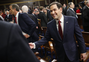 U.S Republican presidential candidate Rubio arrives in House chamber prior to President Obama's State of the Union address to a joint session of Congress in Washington