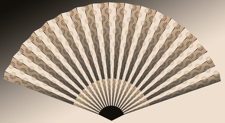 asian fan with flower pattern in ivory and black shades