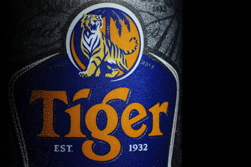 The logo of Tiger beer is pictured on a can of ice cold beer in Singapore