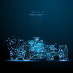 Fotobehang F1 Polygonal F1 CAR. Speed concept. Vector bolide mesh spheres from flying debris. Thin line concept. Blue structure style illustration
