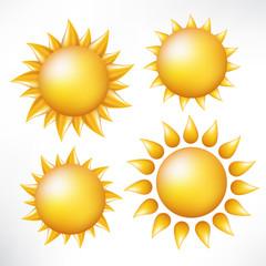 Set of the sun. Vector image isolated. Cartoon style.