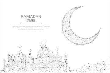 Abstract mosque and arabic moon polygonal, geometry triangle. Light connection structure. Low poly vector background. Vector Ramadan Kareem concept