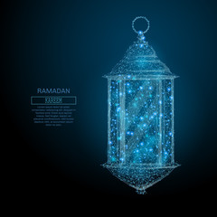 Abstract image of a ramadan lantern in the form of a starry sky or space, consisting of points, lines, and shapes in the form of planets, stars and the universe. Vector Ramadan Kareem concept