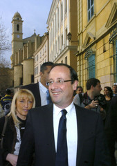 Francois Hollande, Socialist Party candidate for the 2012 French presidential election, walks during a campaign visit in Bastia
