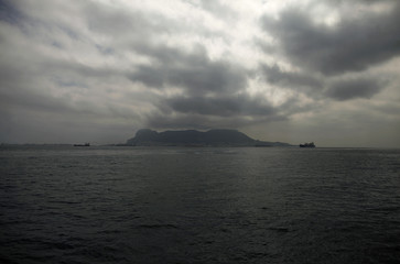 The Rock of Gibraltar is pictured from a ship at the bay of Algeciras