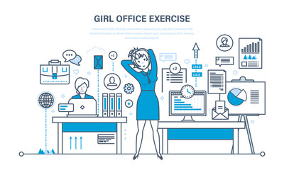 Girls in office do exercises, for rest and recovery.