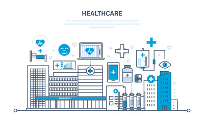 Healthcare system, special tools, atmosphere, house of hospital and equipment.