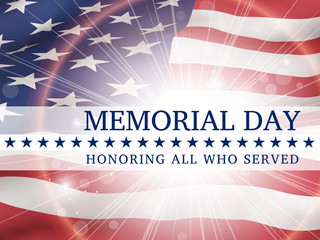 Memorial Day, honoring all who served - poster with the flag of the United States of America