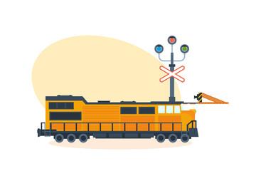 Train on railway, on street of city. Vector illustration isolated.