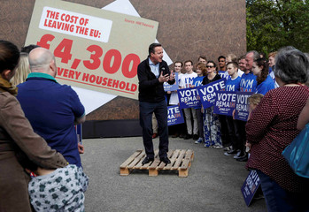 """Britain's Prime Minister David Cameron speaks at a """"Stronger In"""" campaign rally at a school in Witney"""