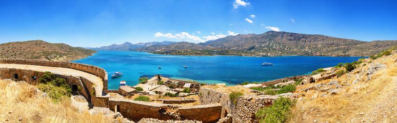 Panorama from Spinalonga Island Fortress. Crete, Greece.