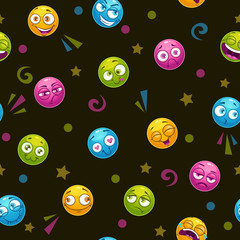 Seamless pattern with colorful round faces