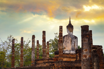 Wat Mahathat Temple at Sukhothai Historical Park, a UNESCO World Heritage Site in Thailand
