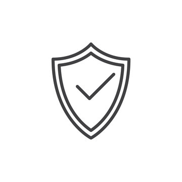 Protection shield with check mark line icon, outline vector sign, linear style pictogram isolated on white. Symbol, logo illustration. Editable stroke. Pixel perfect