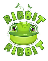 Cute t shirt print for kids with frog face.