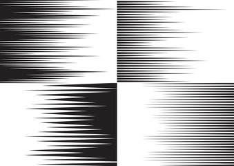 Horisontal speed lines for comic books. Four black and white templates for backgrounds. Vector illustration Fotomurales