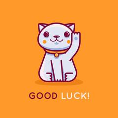 Vector flat linear illustration and logo design template - maneki neko cat wishing good luck