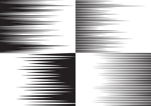 Horisontal speed lines for comic books. Four black and white templates for backgrounds. Vector illustration