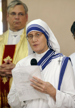 Sister Prema speaks during a mass service to celebrate the 100th birth anniversary of Mother Teresa at her tomb in Kolkata